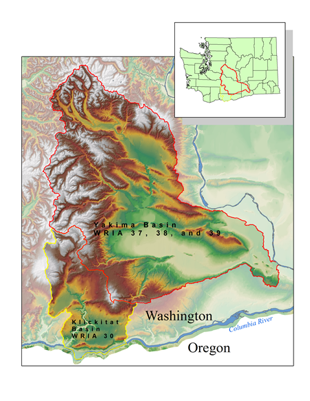 Yakima and Klickitat River Basin Map